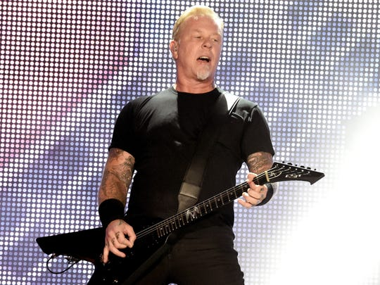 Metallica's James Hetfield performs onstage at the Rose Bowl on July 29, 2017, in Pasadena, Calif.