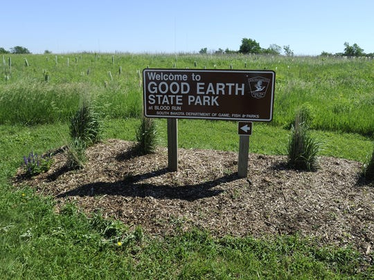 A sign marks Good Earth State Park at Blood Run Creek.