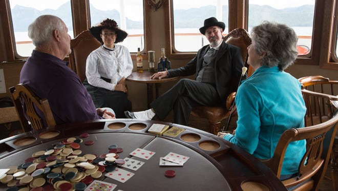 """Instead of the expedition guides normally found on small ships in Alaska, the S.S. Legacy features """"Heritage Guides"""" in period costumes who bring the state's Gold Rush-era history to life through historical reenactments."""