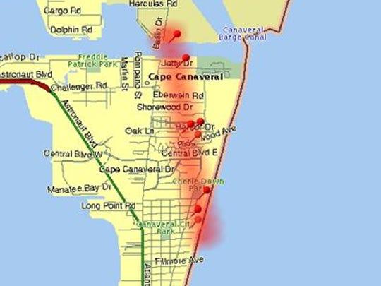 Path of Agnes tornado in Cape Canaveral.