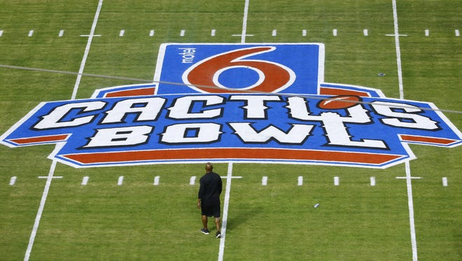 The Cactus Bowl logo at mid-field prior to the Cactus Bowl on Dec. 27, 2016, in Phoenix.