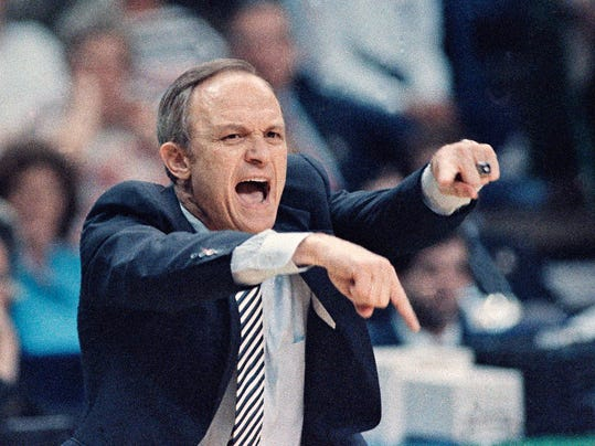 FILE - In this March 29, 1986, file photo, LSU coach Dale Brown yells to his team from the sideline during a national semifinal at the Final Four of the NCAA men's college basketball tournament at Reunion Arena in Dallas. The former LSU coach knows a thing or two about leading an underdog deep into the bracket. Back in 1986, he led LSU, the first No. 11 seed team to reach the Final Four. (AP Photo/David Longstreath, File)