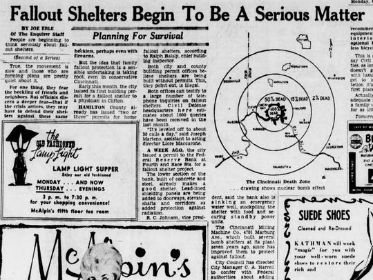 An Oct. 2, 1961 Cincinnati Enquirer article about fallout