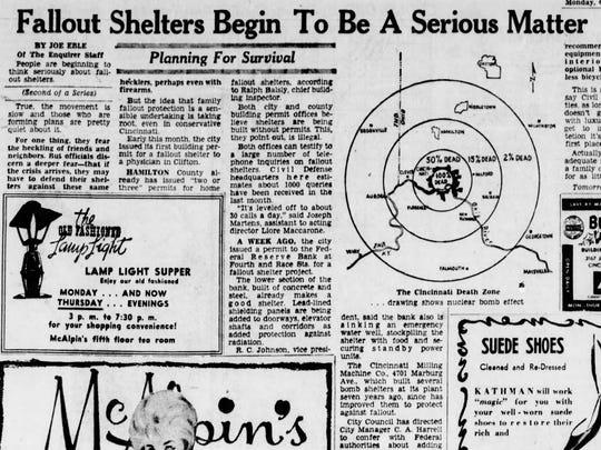 An Oct. 2, 1961 Cincinnati Enquirer article about fallout shelters.