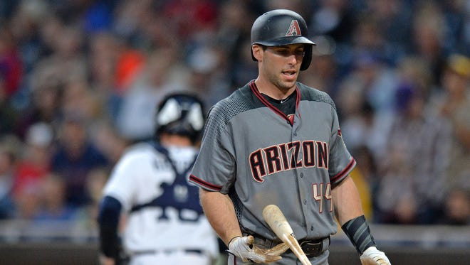 Apr 20, 2017; San Diego, CA, USA; Arizona Diamondbacks first baseman Paul Goldschmidt (44) reacts after striking out during the fifth inning against the San Diego Padres at Petco Park.