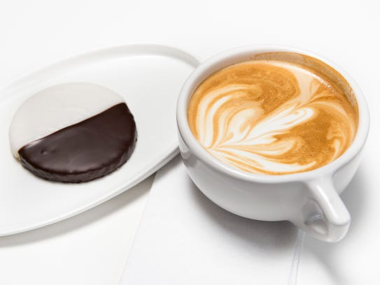 Barista Parlor latte with a Black and White cookie