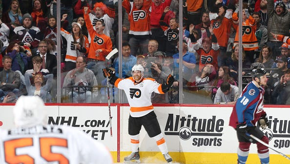 Claude Giroux of the Philadelphia Flyers celebrates a go-ahead-goal against the Colorado Avalanche at the Pepsi Center on March 24 in Denver, Colorado.