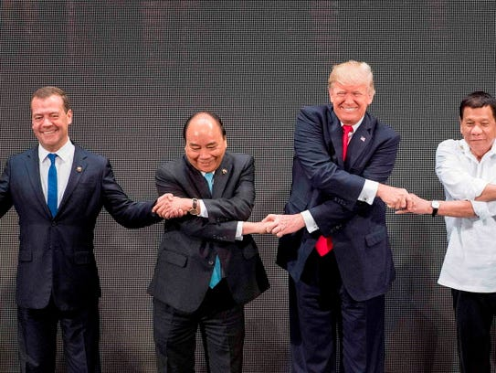 From left, Thailand's Prime Minister Prayut Chan-O-Cha,