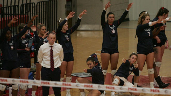 The Colorado State University-Pueblo volleyball team and head coach Austin Albers (center left) are awaiting word in order  to run their  annual summer camps.
