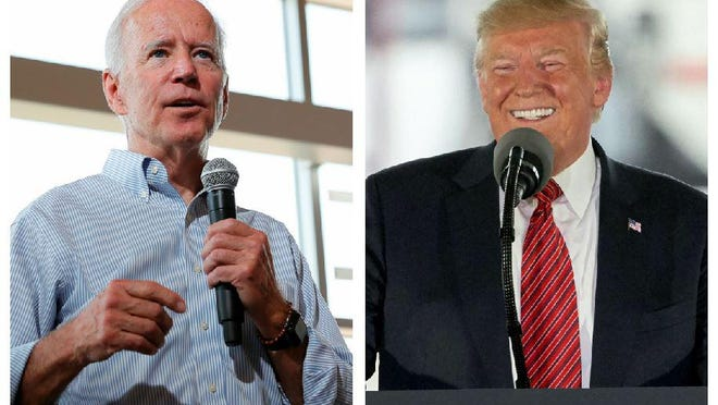 Democratic presidential candidate and former Vice President Joe Biden, left, speaks during a town hall meeting Tuesday in Ottumwa, Iowa. President Donald Trump speaks at Southwest Iowa Renewable Energy, an ethanol producer, in Council Bluffs, Iowa on Tuesday