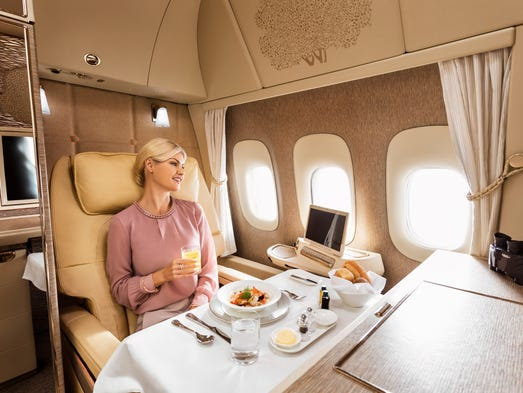 This staged photo, provided by Emirates, shows its