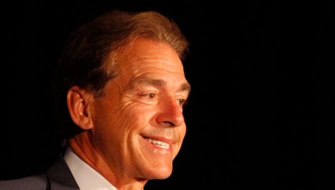 Alabama coach Nick Saban speaks to media at the Southeastern Conference NCAA college football media days on Thursday, July 17, 2014, in Hoover, Ala. (AP Photo/Butch Dill)