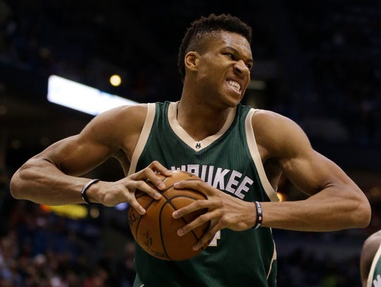 Bucks' Giannis Antetokounmpo. (AP Photo/Jeffrey Phelps)