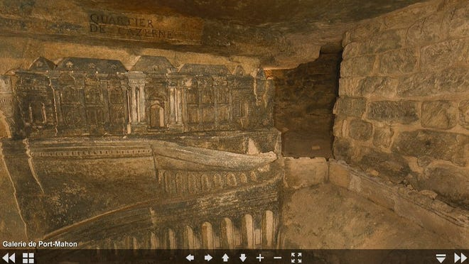 Peak into a virtual visit of the Paris Catacombs at http://catacombes.paris.fr/en/virtual-visit