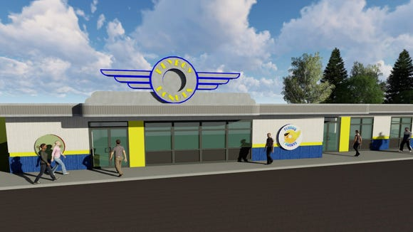 A rendering of the new east-side Flyboy Donuts location