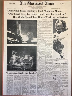 The front page of the Shreveport Times during the Apollo 11 mission.