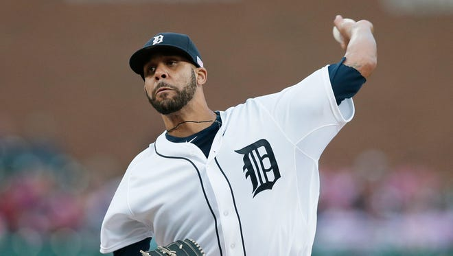 Detroit Tigers starting pitcher David Price throws against the Cleveland Indians in Detroit on Sept. 12, 2014.