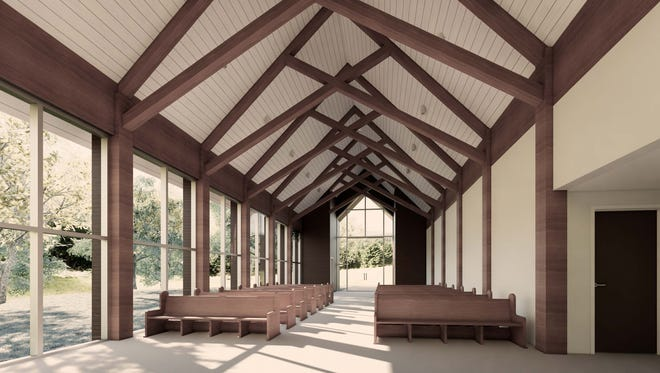 The new Chapel in the Woods at Graceland will replace an old chapel behind the mansion. The first wedding is planned for Aug. 13.
