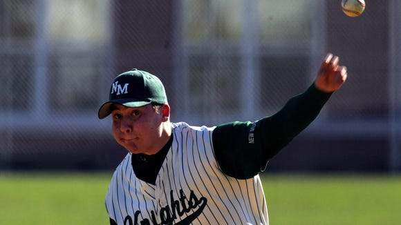 From 2005 New Milford pitcher PJ Saporito delivers a pitch against Cresskill.