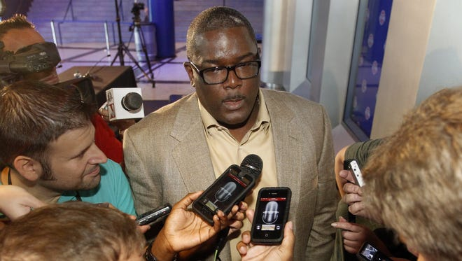 Detroit Pistons president Joe Dumars answers questions July 16, 2013.