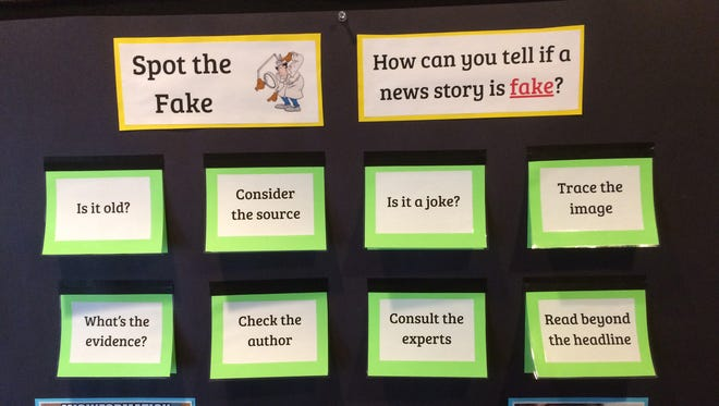 Tips for spotting fake news in the Upper School library at Lakeside School in north Seattle.