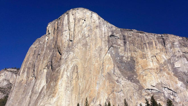 This Jan. 14, 2015, file photo shows El Capitan in Yosemite National Park, Calif. Officials at Yosemite say a chunk of rock broke off El Capitan on Wednesday, Sept. 27, 2017, along one of the world's most famously scaled routes at the height of climbing season.