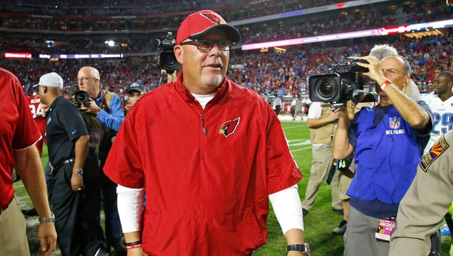 Cardinals head coach Bruce Arians was all smiles following their 14-6 win over the Detroit Lions in their NFL game Sunday, Nov. 16, 2014 in Glendale, Ariz.