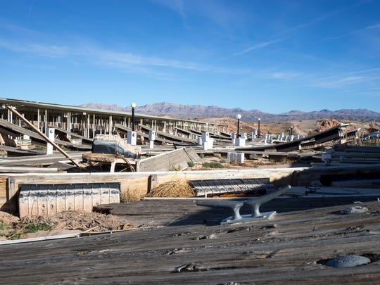 Historic low levels in Lake Mead left resort areas like the Echo Bay Marina in Nevada abandoned. The marina closed because the concessionaire chose not to renew its  contract due to declining revenues.