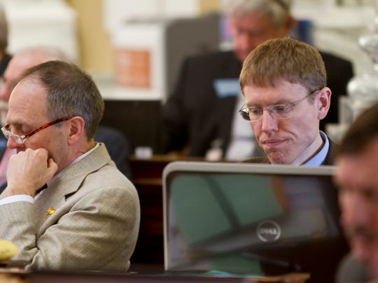 Steve Fitzpatrick (Republican, House District 20) listens to testimony on a bill during the 2015 Legislative Session.