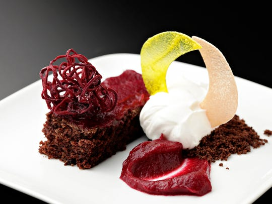 The chocolate beet cake with raspberry beet sauce and