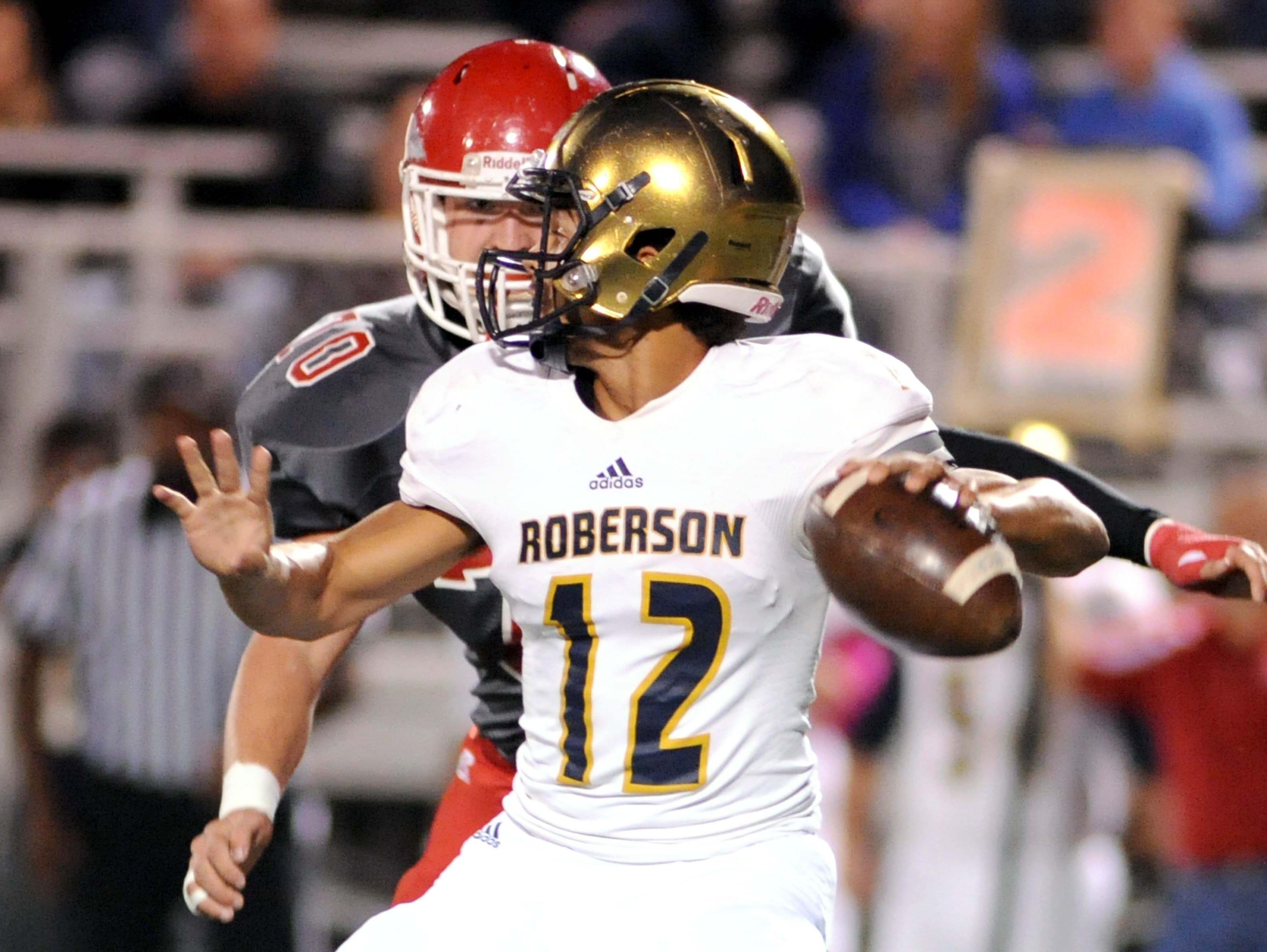 Roberson football player Chris Barnwell (12).