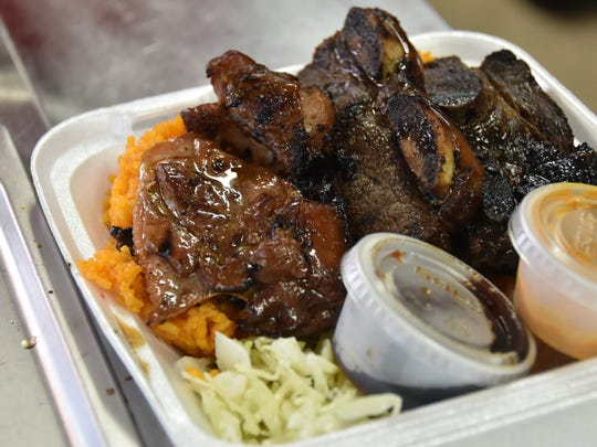 The two-choice dish with barbecue short ribs and chicken,