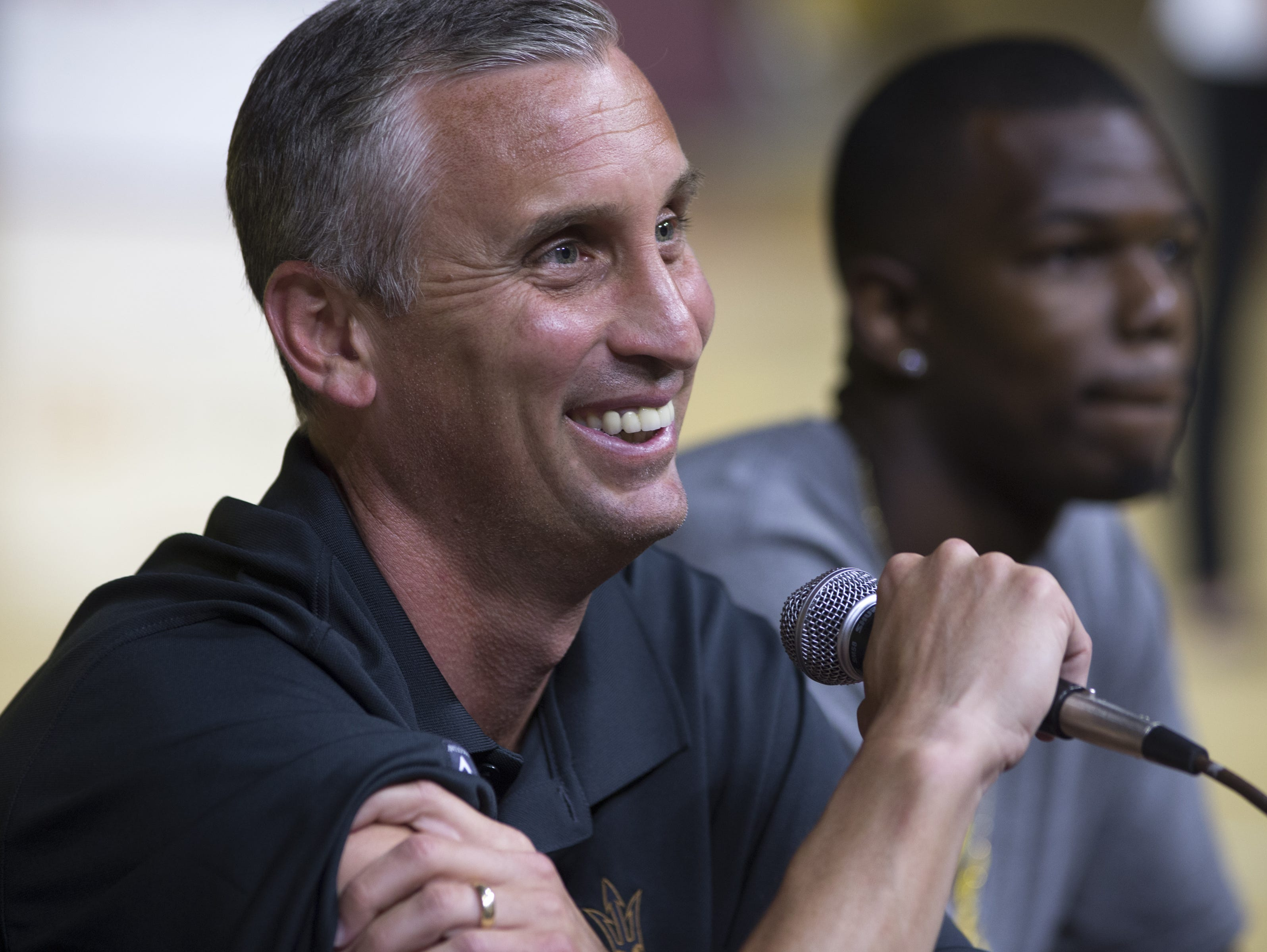 """ASU's new head basketball coach Bobby Hurley answers questions, June 18, 2015, during a """"Fan Conference"""" at Wells Fargo Arena, 600 E Veterans Way, Tempe."""