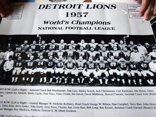 Photo of the Detroit Lions 1957 World Championship team.