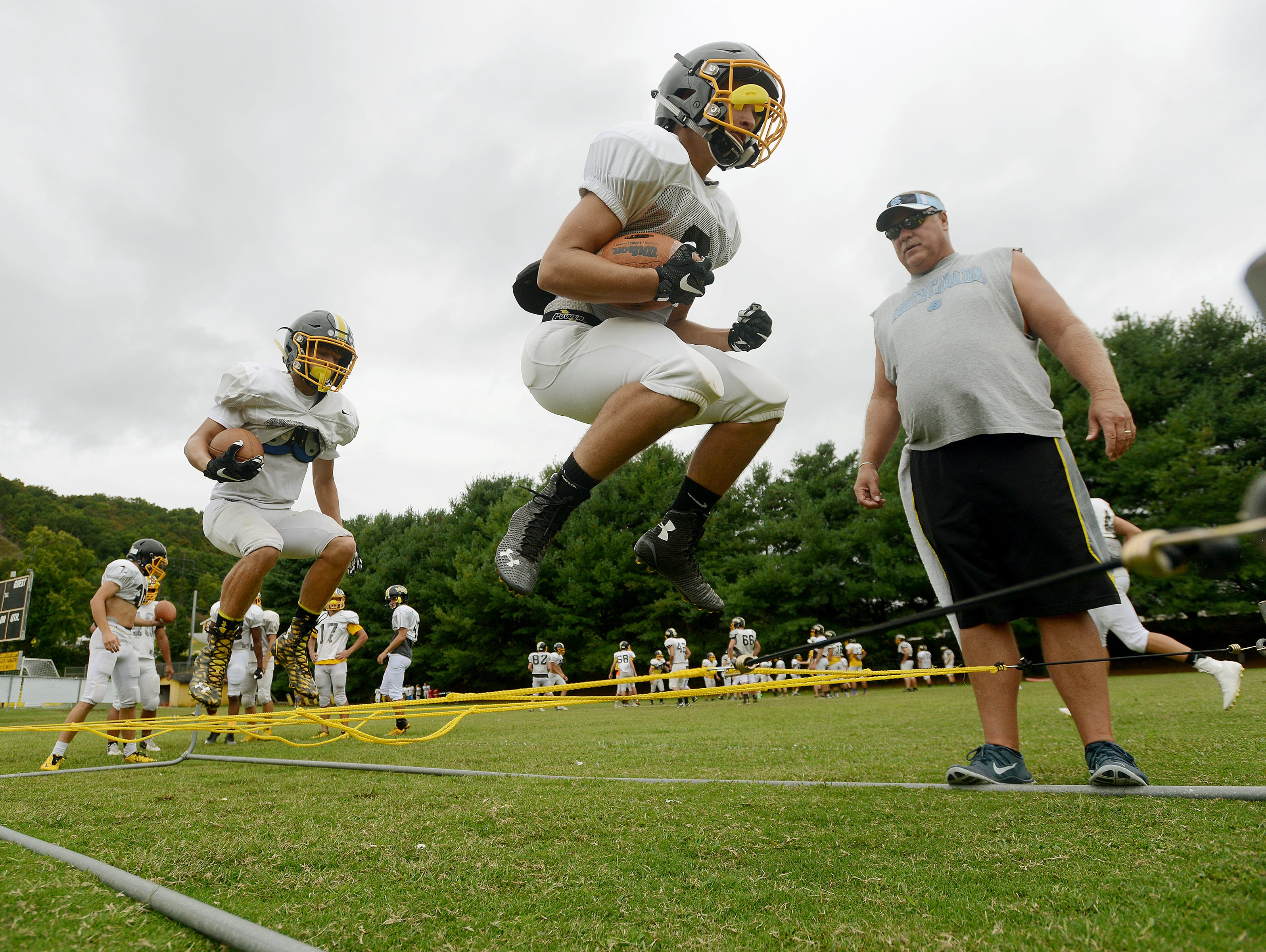 Murphy football players take part in a recent practice.