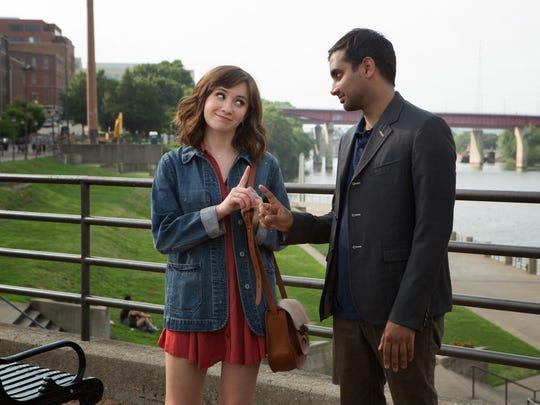 Noel Wells and Aziz Ansari at Riverfront Park on Netflix's
