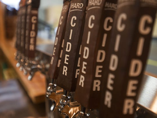 Cold draft cider is served at the new Bold Rock Hard Cider tasting room in Mills River.