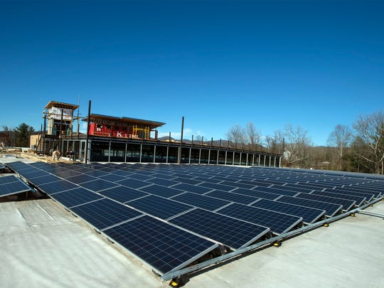A 1,000-panel solar array on the roof of the Highland brewery helps power the brewery.