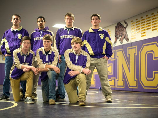 Spencer senior wrestlers(frontL-R) Dawson Henrichs, Nathan McLaury, Dakota Bauerly(back:L-R)Casey Van Wettering, Hunter Hurst, Nathan Nissen, Seth Hill-Anderson. Spencer high school senior Austin Roberts, a returning state medalist, died Saturday Dec. 19, 2015, after he fell to the mat after a stoppage in action in the final minute of the Spencer Invitational's 220-pound title match.
