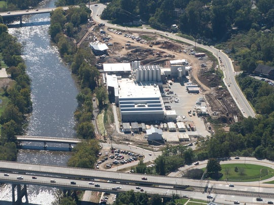 The New Belgium brewery under construction next to the French Broad River in Asheville in this October 2015 aerial photograph.