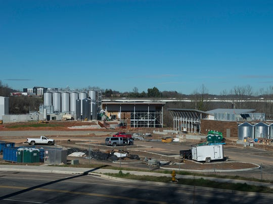The main brewery and tasting room of the New Belgium brewery nears completion next to the French Broad River in Asheville Thursday Jan. 7, 2016.