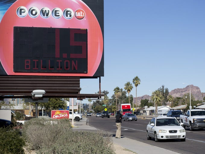 The Powerball sign, Jan. 12, 2016, at 44th Street and
