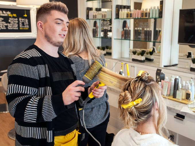 Jennifer Rice receives an afternoon styling from Tanner