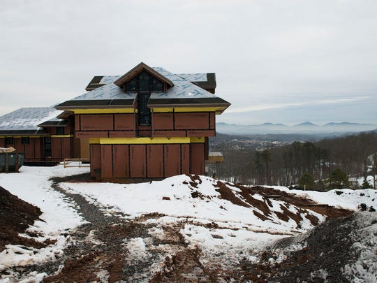 A new home in The Cliffs at Walnut Cove subdivision has views of the mountains from the development south of Asheville.