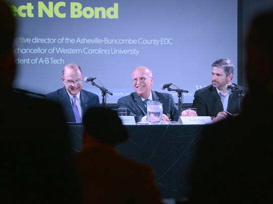 A-B Tech President Dennis King, center, appears on a Citizen Times panel along with the late David Belcher, Western Carolina chancellor, and Ben Teague, then-executive director of the Asheville-Buncombe EDC.