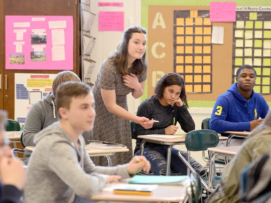 Teacher pay in North Carolina ranked 46th in 2018, according to a USA Today analysis, with a median salary of $45,195.
