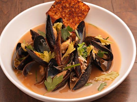 The potlikker mussels and cornbread from Okra in Phoenix.