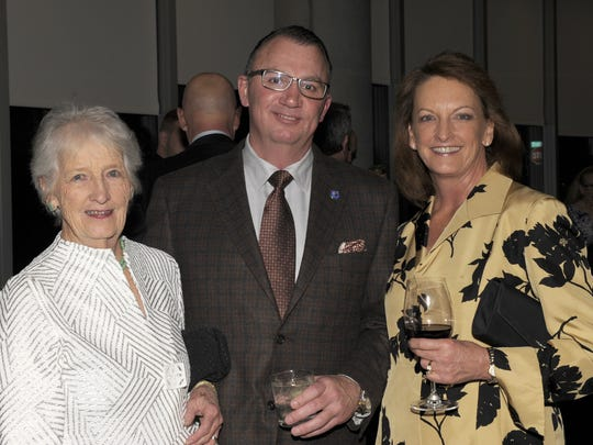 """Merle Rose, left, Dan Morgan and Valerie Glenn attend """"The Horse"""" exhibit at the Nevada Museum of Art Friday, March 4, 2016."""
