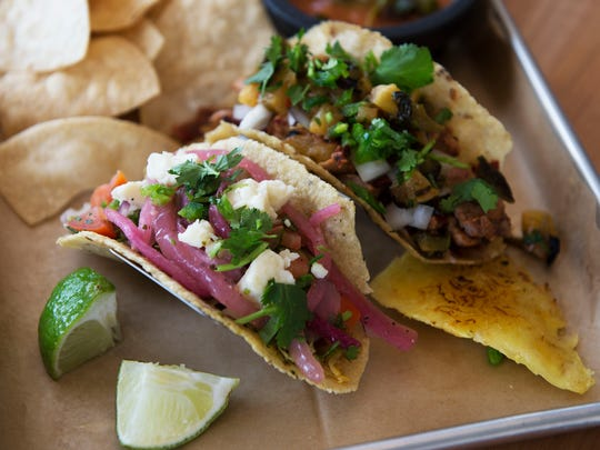 Fresh tacos made with tortillas made from scratch from masa at Mamacita's Taco Temple, located at 132 Charlotte Street.