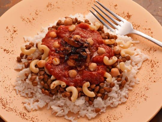 Koshari, the national dish of Egypt, served with rice
